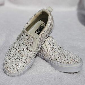 Vans Asher V White & Glitter Slip On Sneakers